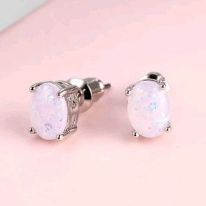 Jewelry - White Fire Opal Oval Stud Earrings